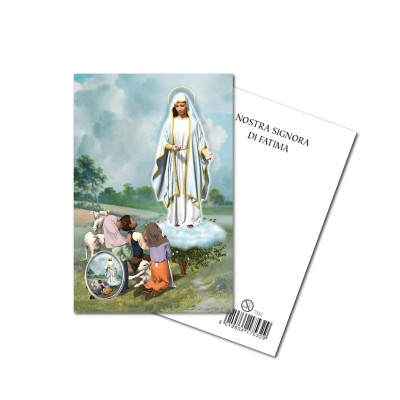 OUR LADY OF FATIMA - Metal pin with Holy Picture