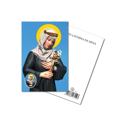 SAINT CATHERINE OF SIENA - Metal pin with Holy Picture