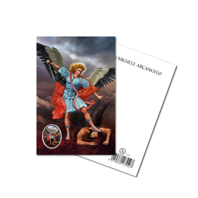 SAINT MICHAEL the ARCHANGEL - Metal pin with Holy Picture