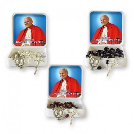 Santo Giovanni Paolo II - Scatola con Rosario chicco di riso