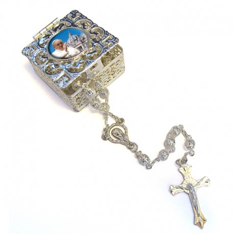"Square Rosary case ""Pope Francis"" with silver filigree Rosary"