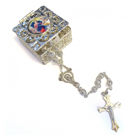 """Square Rosary case """"Our Lady Untier of Knots"""" with silver filigree Rosary"""