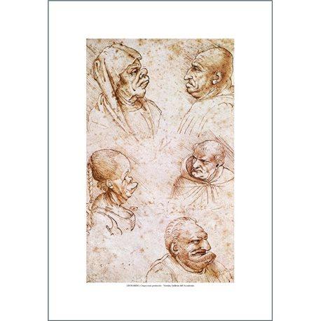 5 TESTE GROTTESCHE Leonardo, Galleria dell'Accademia - Venezia