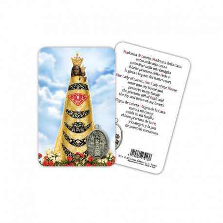 Our Lady of Loreto - Laminated prayer card with medal