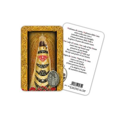 Madonna di Loreto - Immagine religiosa plastificata (card) con medaglietta
