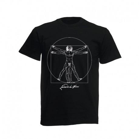 Black T-shirt Vitruvian Man