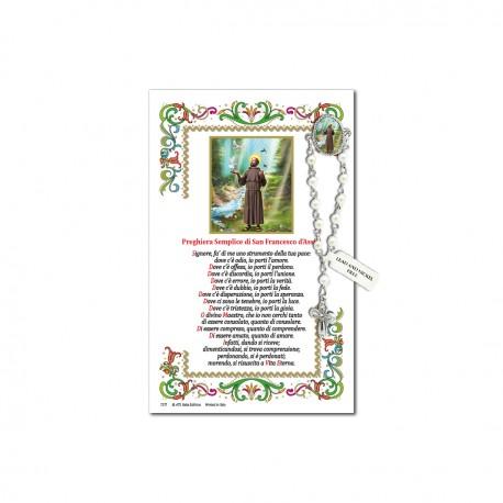 San Francesco d'Assisi - Immagine sacra su carta pergamena con spilletta decina rosario