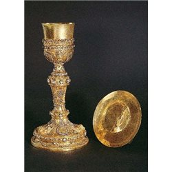 GOLD CHALICE WITH PATEN WITH DIAMONDS