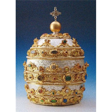 SILVER TIARA OR TRIREGNUM WITH GEMS AND PEARLS FOR THE STATUE OF ST PETER