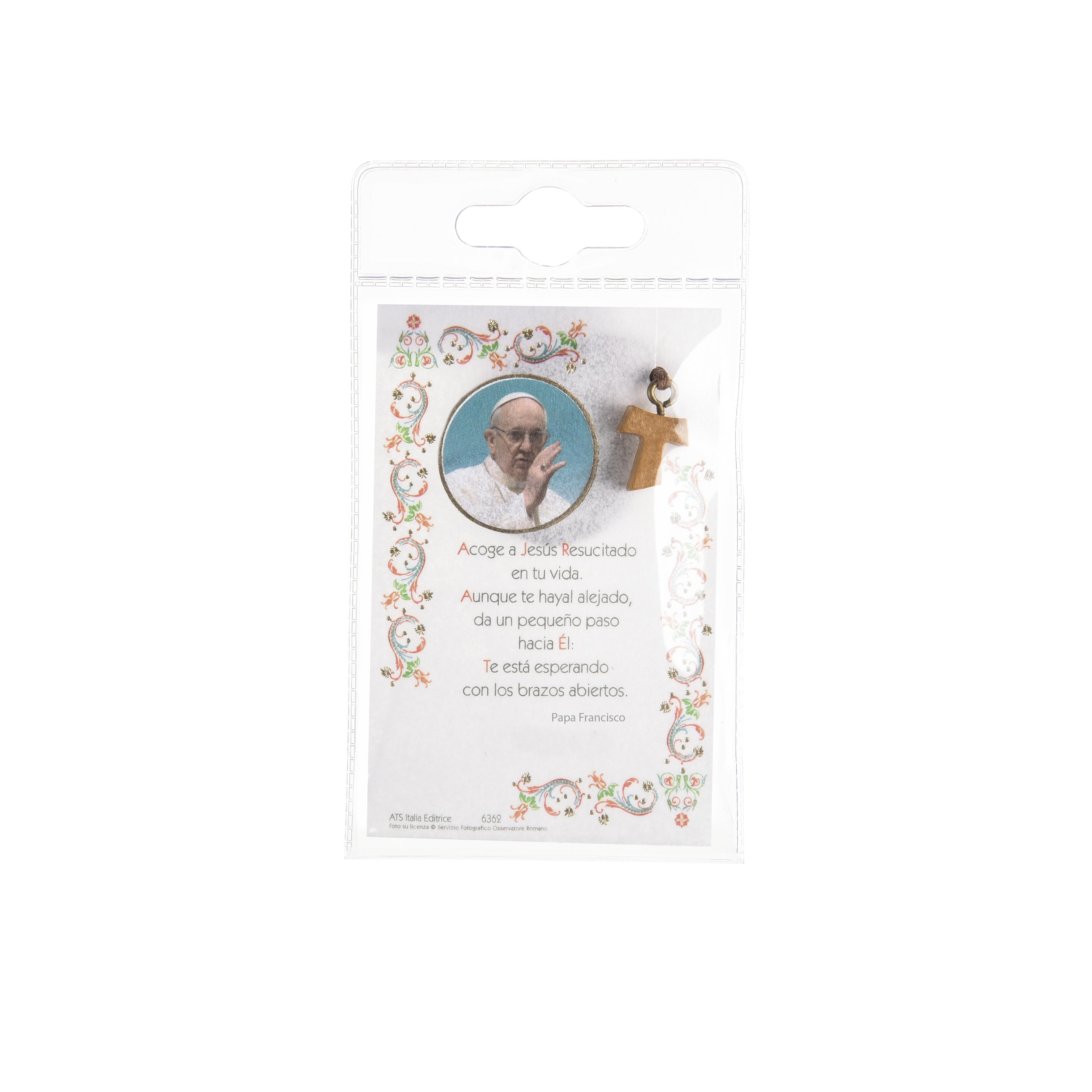 Papa Francesco - Immagine sacra su carta pergamena con laccio e croce tau in legno
