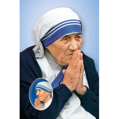 """St. Teresa of Calcutta"" holy picture with prayer and custom pins"