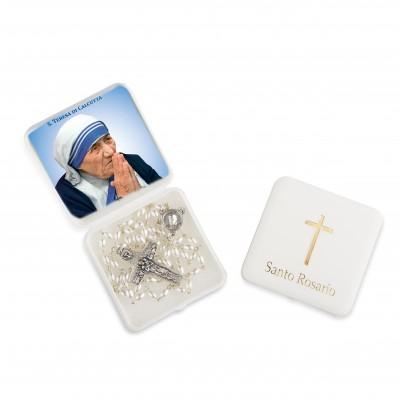 Santo Giovanni Paolo II - Scatola con Rosario bianco