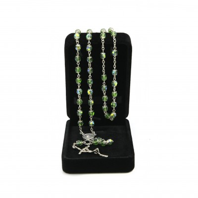 Crystal glass rosary mm 6 in velvet box