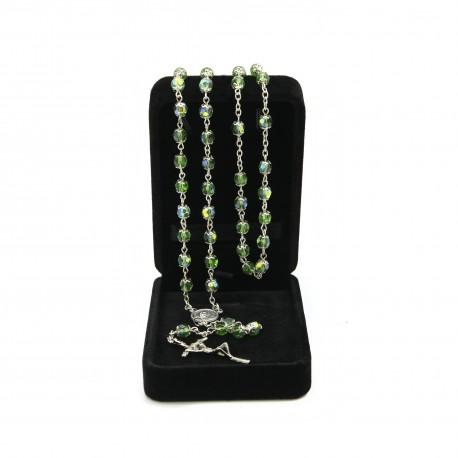 Crystal glass rosary mm 6 in velvet box