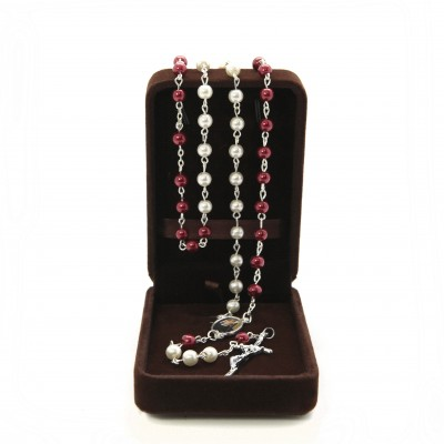 Imitation pearl rosary mm 6 white and red in velvet box