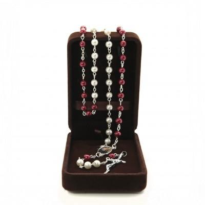 Rosario perle mm 6 bianche e rosse in scatola di velluto