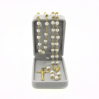 Imitation pearl rosary mm 8 in velvet box