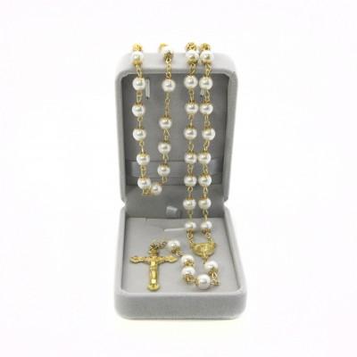 Rosario dorato perla mm 8 in scatola di velluto