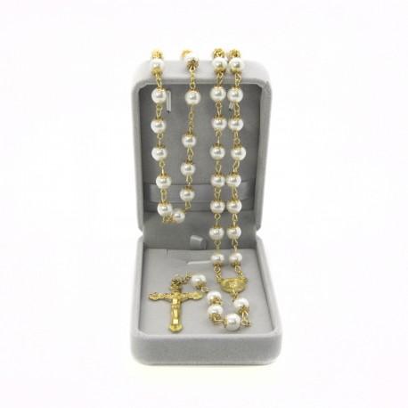 Imitation pearl rosary mm 8 in velvet box