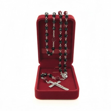 Crystal glass rosary mm 6 with coral rose in velvet box
