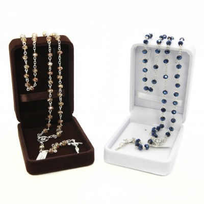Crystal glass rosary mm 4x6 in velvet box