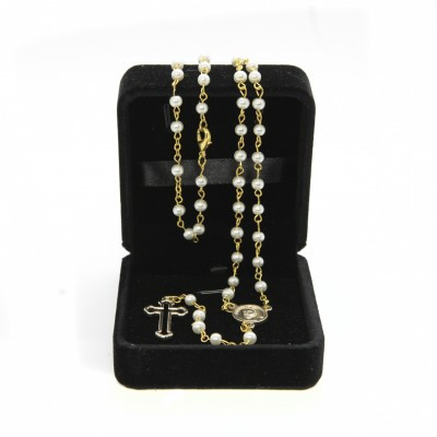 Imitation pearl rosary mm 4 in velvet box