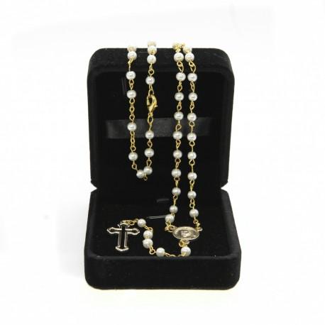 Imitation pearl rosary mm 4 in velvet box