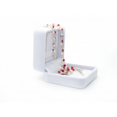 Imitation pearl rosary mm 4 white and red in velvet box