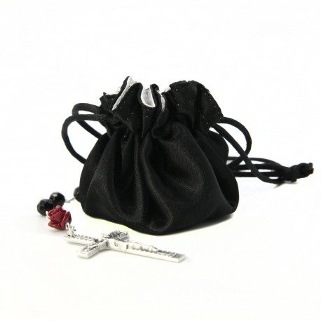 Satin pouch with coral rose and black pearl rosary