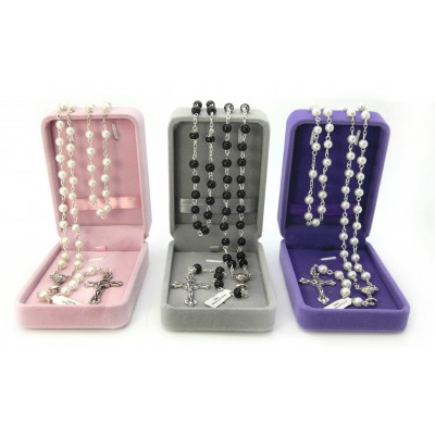 """The First Communion"" with imitation pearl rosary mm 6 white or black in velvet box"