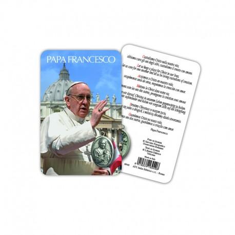 Papa Francesco - Immagine religiosa plastificata (card) con medaglietta