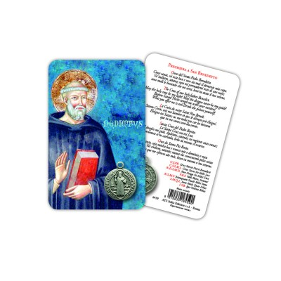 St. Benedict - Plasticized religious card with medal