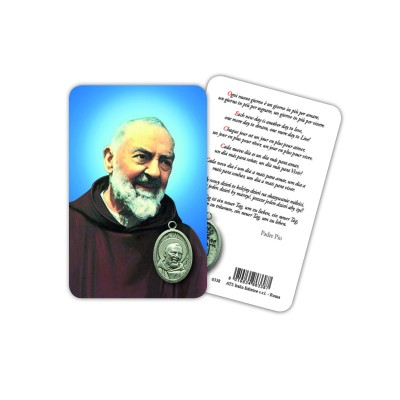 St. Pio - Plasticized religious card with medal