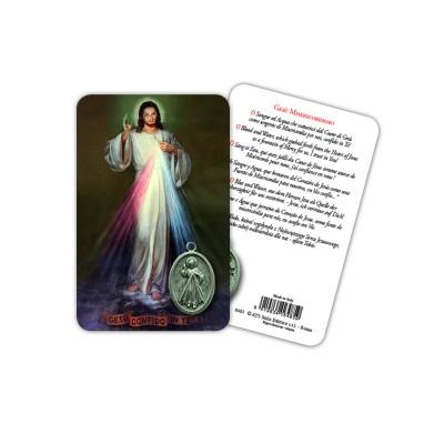 Gesù Misericordioso - Immagine religiosa plastificata (card) con medaglietta