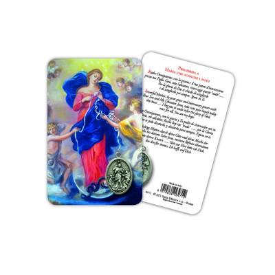 Madonna dei Nodi - Immagine religiosa plastificata (card) con medaglietta