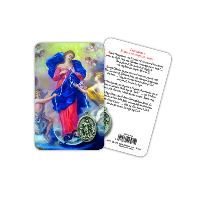 Mary Untier of Knots - Plasticized religious card with medal