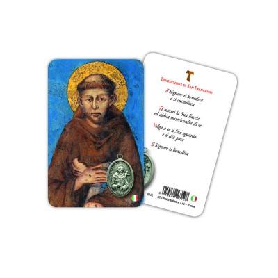 San Francesco - Immagine religiosa plastificata (card) con medaglietta