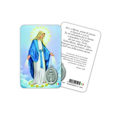 Our Lady - Plasticized religious card with medal