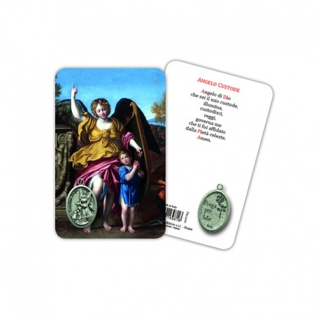 Guardian Angel - Plasticized religious card with medal