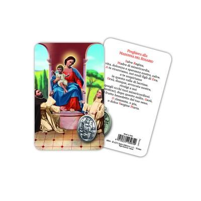 Madonna del Rosario - Immagine religiosa plastificata (card) con medaglietta