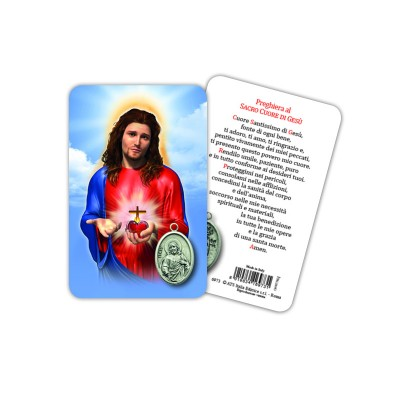 Sacred Heart of Jesus - Plasticized religious card with medal