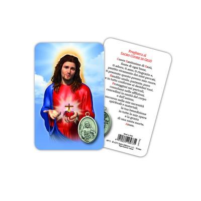 Sacro Cuore di Gesù - Immagine religiosa plastificata (card) con medaglietta