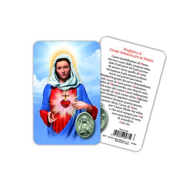 Holy Heart of Mary - Plasticized religious card with medal