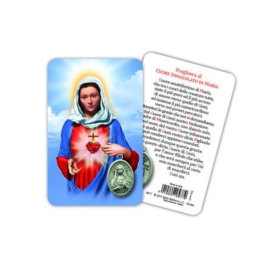 Sacro Cuore di Maria - Immagine religiosa plastificata (card) con medaglietta