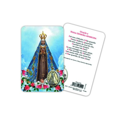 Our Lady of Aparecida - Plasticized religious card with medal