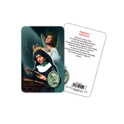 Saint Rita - Plasticized religious card with medal