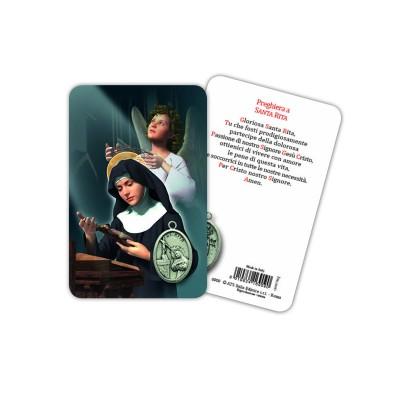 Santa Rita - Immagine religiosa plastificata (card) con medaglietta
