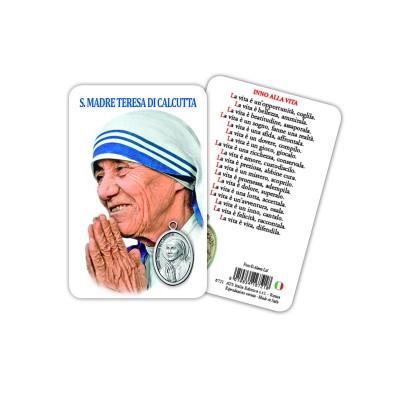 Santa Teresa di Calcutta - Immagine religiosa plastificata (card) con medaglietta