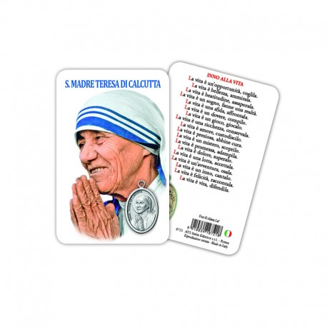 Saint Theresa of Calcutta - Plasticized religious card with medal