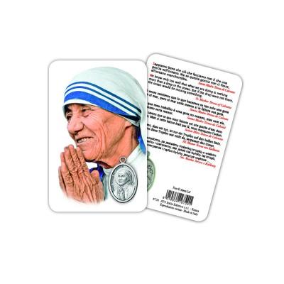 S. Teresa di Calcutta - Immagine religiosa plastificata (card) con medaglietta